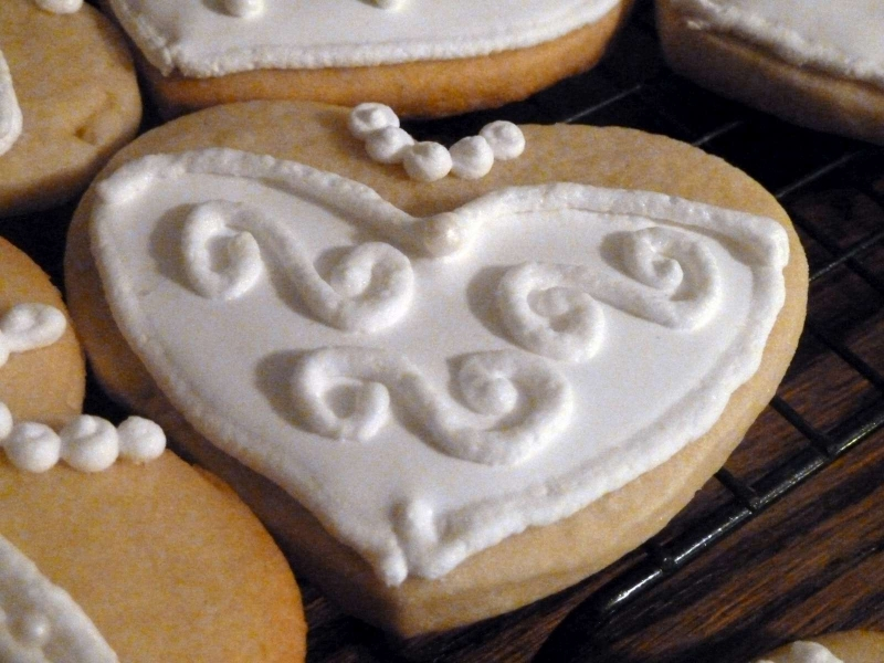 Bridal Shower Sugar Cookie Heart Wedding Dresses
