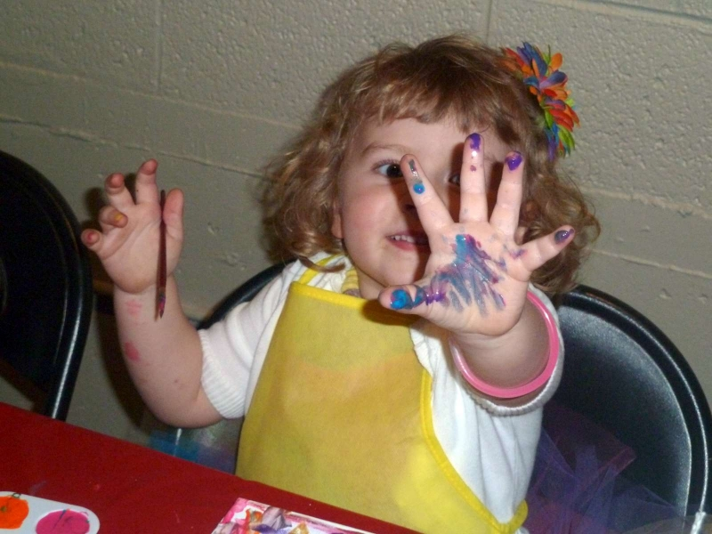 Rainbow Party A Painting Her Hand